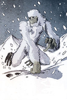 Creepy stories of cryptid monsters- an Artist drawing of the Yeti monster in the Himalayan mountains.