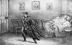 Famous Axe Murders: Murder scene drawing of Helen Jewett laying dead in her bed before it was set fire