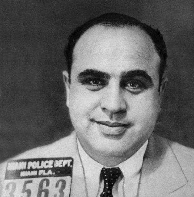 Celebrity ghost hauntings: Mug shot of Al Capone. The haunted and the haunter