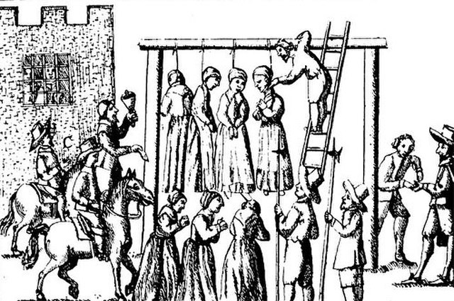 Sketching of witches being hung