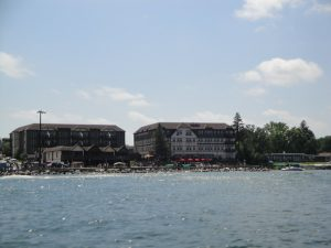 photo shows the facade of the Chase on the Lake from across the water
