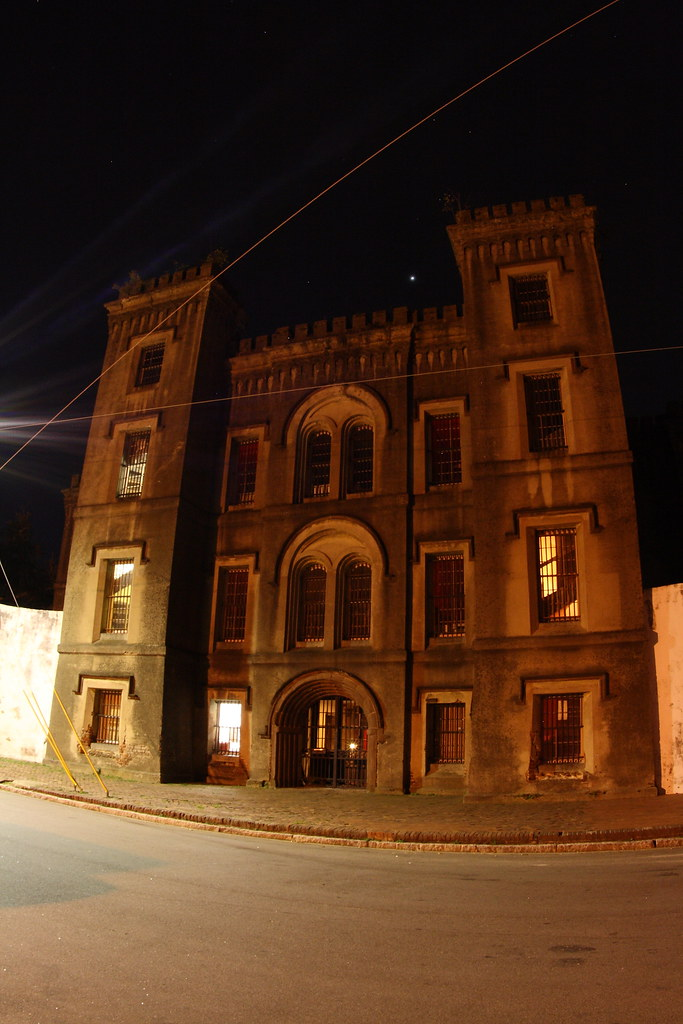 photo shows the foreboding facade of the old charleston jail