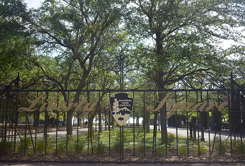 photo shows the gate of Liberty Square