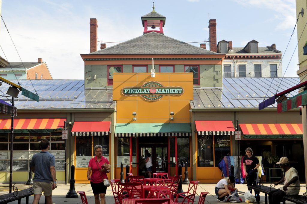 photo shows the facade of the findlay market.
