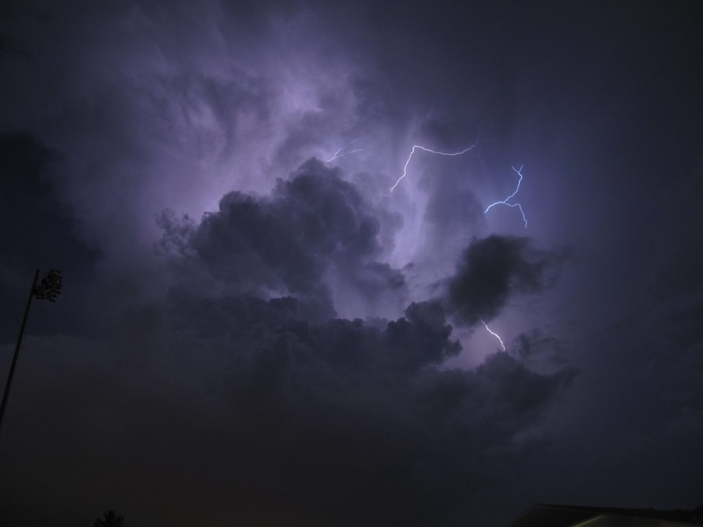 Ominous sky and lightening over Asheville